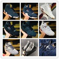 x uçuş toptan satış-2018 Yeni Jumpman 4 IV Mavi Siyah Kot Denim x Jiont Sınırlı erkek Basketbol Ayakkabıları 4s Uçuş Moda Spor Sneakers Boyutu 40-46