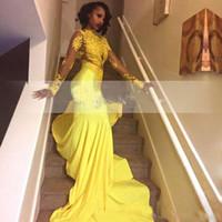 robes de soirée sud-africaines achat en gros de-2018 Assez Jaune Africain Dentelle Appliqued Robe De Soirée Sud Africain Sirène Manches Longues Banquet Robe De Fête Sur Mesure Plus