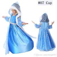 bürgerkrieg kleid xxl großhandel-Kinder Baby Schnee Königin Kostüm Anime Cosplay Kleid Prinzessin Kleider mit Kapuze Cape Blau Pelz Cape Kleid bereit Stock