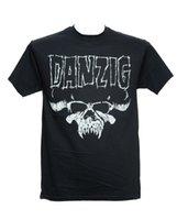 camisa oficial homens venda por atacado-DANZIG LOGOTIPO DO CRÂNIO Oficial Licenciado T-Shirt de Metal SOMENTE Novos Roupas Masculinas T-shirt de Manga Curta Masculina T-shirt Dos Homens Baratos Barato