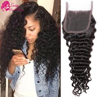 Wholesale brazilian girls curly hair online - Malaysian Deep Wave Middle Part Closure Natural Color Deep Curly Virgin Hair Closure Free Part Three Part Human Hair Closure SASSY GIRL