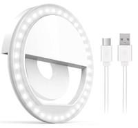 zellvideos großhandel-Wiederaufladbarer Selfie-Lichtring mit 36 LED-Lichtern 3 Helligkeitsniveau-Handy-Laptop-Kamera-Fotografie-Videobeleuchtung mit Kleinpaket
