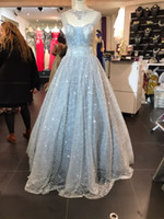 Wholesale glitter carpet for sale - 2018 A Line Evening Dresses with Off Shoulder Court Train Bling Glitter Lace Fairy Elegant Princess Prom Gowns Rhinestone Real Images