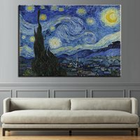 Wholesale paintings impressionism for sale - Group buy Canvas Paintings Wall Art HD Prints Abstract Impressionism Posters Piece Starry Sky Pictures Living Room Home Decor Framework