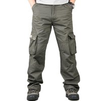 мешковатые штаны оптовых-Cargo Pants Men Casual Streetwear Loose Overalls Trousers Pantalones Hombre Man Coon Hiphop Baggy Pocket Tactical Track Pants