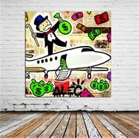 ingrosso decorazione murale d'arte-Aereo Graffiti Art, Tela Pittura Soggiorno Home Decor Moderna Pittura a olio di arte murale