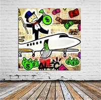 ingrosso pitture astratte onde-Aereo Graffiti Art, Tela Pittura Soggiorno Home Decor Moderna Pittura a olio di arte murale