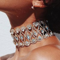 Wholesale Wholesale Chunky Jewellery - whole saleFashion Luxury Full Big Rhinestone choker Crystal statement necklace Women Chockers Chunky Necklace Collier Wedding jewellery