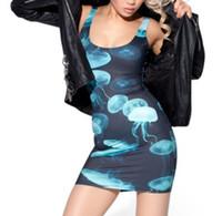 mini saias apertadas azuis venda por atacado-Europa e América Digital Céu Azul Água-viva Impressão Calças Justas Hip Vestido Colete Saia Mulheres Vestidos de Verão Mujer Vestidos 2018 Quente Novo