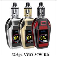 Wholesale mods e cigs - 100% Authentic Ucige VGO 80W Starter Kit VGO box mod Built-in 4200mAh Battery with LED Indicator 2.0ml VGO Tank e cigs vapes