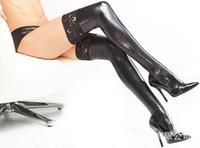 leggings de encaje a los lados al por mayor-¡Envío gratis! Nuevas mujeres de la manera Medias largas Lencería sexy Cuero de la PU Elástico Leggings Encaje Floral Side Work Out Black Fitness