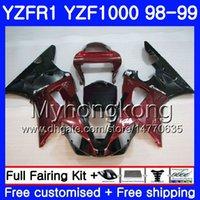 98 r1 verkleidungen rot großhandel-Karosserie Für YAMAHA YZF R 1 YZF 1000 YZF1000 YZFR1 98 99 Rahmen 235HM. 8 YZF-1000 YZF-R1 98 99 Karosserie YZF R1 1998 1999 Wine red hot sale Fairing