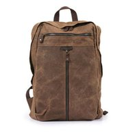 Wholesale hunting oil for sale - Group buy Vintage Genuine Leather Canvas Rucksack Backpack Retro Oil Wax Waterproof Outdoor Travel Luggage Bag Satchel Schoolbag