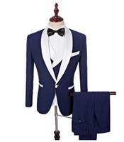 novio de esmoquin blanco boda al por mayor-Traje de 3 piezas para hombre, esmoquin azul, blanco, chal, solapa, trajes de hombre, con pantalones, traje de boda, traje de negocios, chaqueta para hombre y novio
