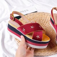 Wholesale Gold Wedge Shoes Women - velvet embroidery flowers platform wedge heels summer sandals for women thick bottom star decor top quality candy color shoes laides