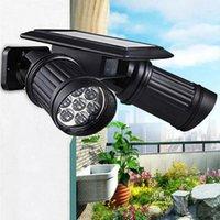 çift led spotlar toptan satış-Duvar Çift kafa Güneş Işıkları Açık Hareket Sensörü Çift Spot Güneş Enerjili 180 Derece Dönebilen Güvenlik Işık Patio Sundurma Yard için