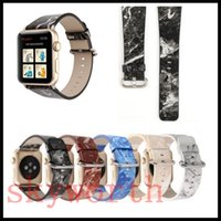Wholesale wholesale leather straps for bracelets - For Apple Watch Strap Bands Genuine Real Leather Straps Granite Marble patter Band 38 42mm Bracelets With Adapter