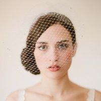 Wholesale birdcage veils online - Vintage Birdcage Wedding Veils Face Blusher Wedding Hair Pieces One Tier With Beads Comb Short Bridal Headpieces Bridal Veils V008