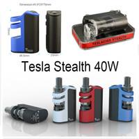 Wholesale metal shadow box - Original Tesla Stealth 40W Starter Kit Tesla Stealth 40W Box Mod with Shadow 2ml Tank 4 Colors Micro USB Charging