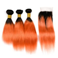 ingrosso capelli di trama colorata-Ombre colorate trama di capelli vergini serici 3 Bundles con chiusura in pizzo Due toni 1B Orange 350 estensione di capelli vergini con chiusura in pizzo 4x4