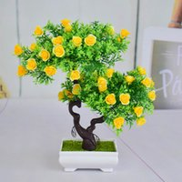 Wholesale small white artificial roses resale online - Mini Plastic artificial bonsai trees art pots tray fake small rose flowers for home indoor Christmas decoracion gifs