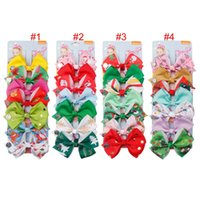 Wholesale new girls accessories for sale - 7 color New JOJO Siwa girl hair bows colorful bow Christmas design hair accessories boutique child Barrettes