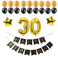 Wholesale foil banner - 40 50 60 30 Years Old Happy Birthday Paper Bunting Banner Number Foil Latex Balloons Birthday Party Decoration Supplies Black