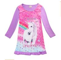 Wholesale Long Nightwear Dress - Summer Girls Dresses Unicorn Cartoon Outwear Long Sleeve Nightwear Kids Clothing Baby Girls Clothes Girls Clothing DHL Free Shipping