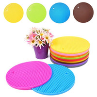 Wholesale round dining table pads - Round insulated Mats Silicone Heat Insulation Dining Pad Coaster Table Mat Foldable Cellular Tableware Coffee Cups Pad AAA466