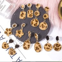 Wholesale square needle resale online - designer jewelry S925 sterling silver needle earrings leopard print charm earrings circle and square hot fahsion free of shipping