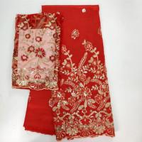 tela de encaje rojo para la venta al por mayor-Tela roja del cordón de 5 yardas de la venta caliente del africano de George con el diseño floral de las lentejuelas y el cordón neto neto 2yards para la ropa WH2-1