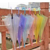 Wholesale clear umbrellas for wedding resale online - Transparent Clear EVC Umbrella Dance Performance Long Handle Umbrellas Beach Wedding Colorful Umbrella for Men Women Kids NT