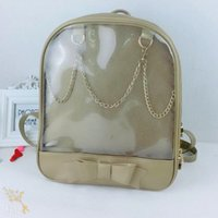 Wholesale Kawaii Bows - 50pcs lot Cute Clear Transparent Bow Backpack Ita Bag Harajuku School Bags For Teenage Girls Rucksack Kids Kawaii Backpack Ita bag