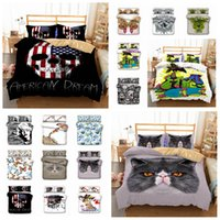 Wholesale skull bedding sets online - 14styles skull butterfly cat printed Kids Bedding Set Duvet Cover Quilt Cover Pillowcase Bedding Supplies set FFA684