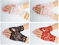 luvas de renda de algodão branco venda por atacado-Luvas Semi Dedo de Verão Ao Ar Livre Condução Anti UV Fino Rendas de Algodão Preto E Branco Cor Sólida Moda Luva
