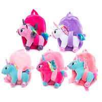 venta de mochilas lindas al por mayor-Nuevo estilo de la mochila de peluche lindo unicornio mochila escolar regalo para los niños de color de dibujos animados de animales mochila venta caliente 16 8xc Ww