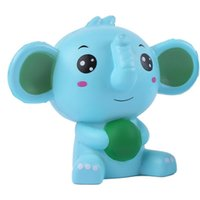 Wholesale blocks shapes toys online - Blue Elephant Squishy Slow Rising Venting Toy Cartoon Animal Shape Squishies Decompression Toys Photography Take Photo Prop mz C