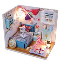 Wholesale diy kids furniture - Summer Little Doll Houses Kids Wooden Christmas Furniture Miniatura DIY Doll House Girls Living Room Decor Craft Toys T30