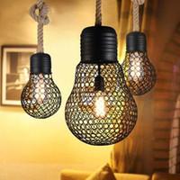 endüstriyel metalik süsleme ışıkları toptan satış-Vintage halat kolye ışık edison ampul Amerikan Tarzı metal kafes lamba restoran yemek odası ışıkları endüstriyel bar aydınlatma