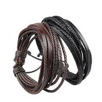 ingrosso corda amante dell'amore-JINSE 36pcs vendita gioielli moda multistrato pelle intrecciata corda wristband uomo donna amore braccialetto nero marrone amante WSB037