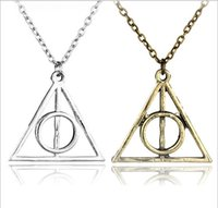 Wholesale antique celtic jewelry - Fashion Jewelry The Deathly Hallows triangle Necklace Antique Harry Silver Bronze Gold Deathly Hallows Pendants Potter