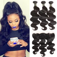 Wholesale curly brazilian hair for sale - Body Wave Bundles with Frontal Brazilian Deep Wave Kinky Curly Virgin Human Hair Weave Bundles with Frontal Weaves Closure Straight Hair