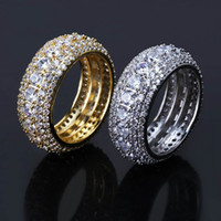 Wholesale fashion rings online - mens ring vintage hip hop jewelry Zircon iced out stainless steel rings luxury gold silver plated Five row drill fashion Jewelry