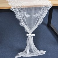 corredores de mesa de boda florales al por mayor-55x300 cm Mesa de Encaje Runner Wedding Decoration Fringe Edge Floral Table Cloth Baby Shower Fiesta de Cumpleaños Decoración QW8497