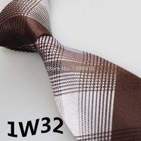 último estilo de corbatas al por mayor-2018 Latest Style Designer Tie White / Brown Grid Diseño a rayas Corbatas de diseñador para hombreVestidos de fiesta Corbatas de marcaGentlemen Corbatas