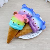 kawaii squishy rilakkuma al por mayor-Squishy Jumbo 14cm Kawaii Squishy Colorful Rilakkuma Yummy Bear / Panda Ice Cream Super Slow Rising Strap Squeeze Bread Cake Juguete de regalo