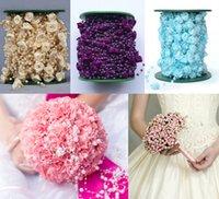 kleidungsstück perlen großhandel-Handarbeit 4mm Rose Imitation Perle Kette DIY Kleidungsstück Perlen Braut Tiara Elegante Hochzeit Zubehör 30 Mt / Rolle D879L