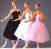 siyah tutu elbise kadınlar toptan satış-Yetişkin Kolsuz Profesyonel Uzun Tutu Jimnastik Leotard Bale Elbise Beyaz / Pembe / Siyah Kuğu Gölü Bale Kostüm F Kadın Kadınlar