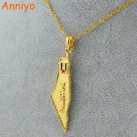 Wholesale National Stainless - Anniyo Palestine Map National Flag Pendants Necklaces Chain Gold Color Jewelry For Women Men Palestinian Gift #005101