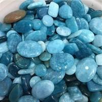 chips de cristal de roca al por mayor-100g zafiro irregular caído piedras grava cristal curación Reiki Rock joya perlas Chip para acuario acuario decoración